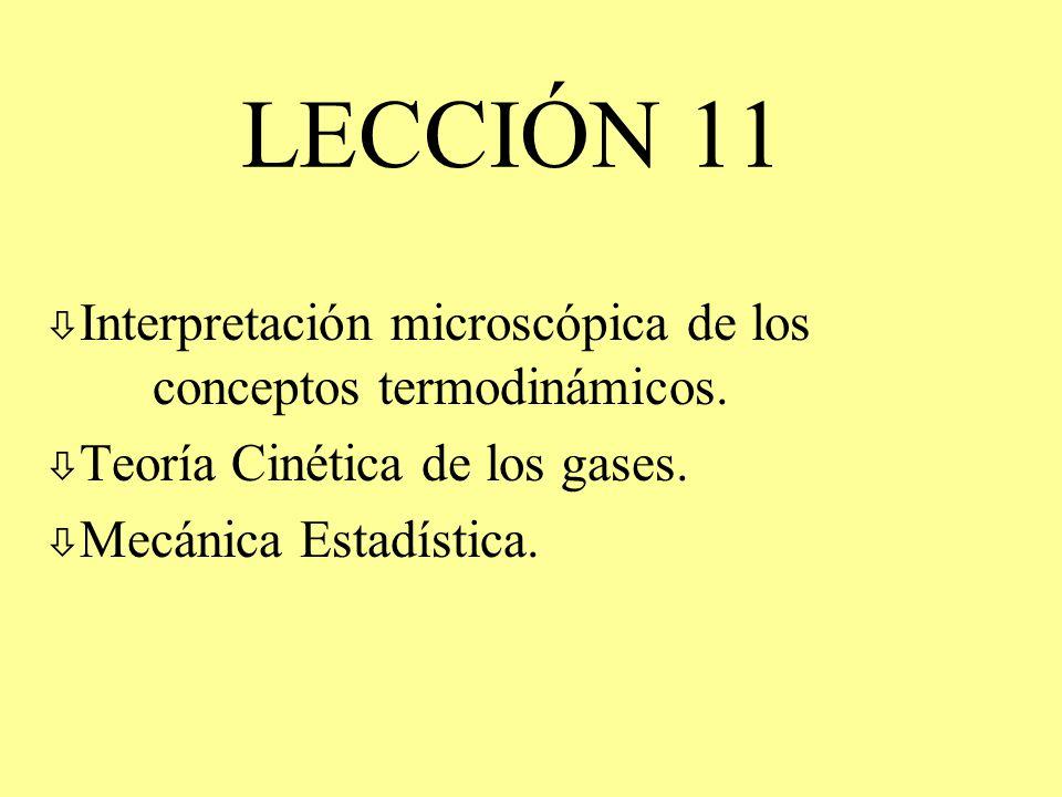 LECCIÓN 11 ò Interpretación microscópica de los conceptos termodinámicos. ò Teoría Cinética de los gases. ò Mecánica Estadística.