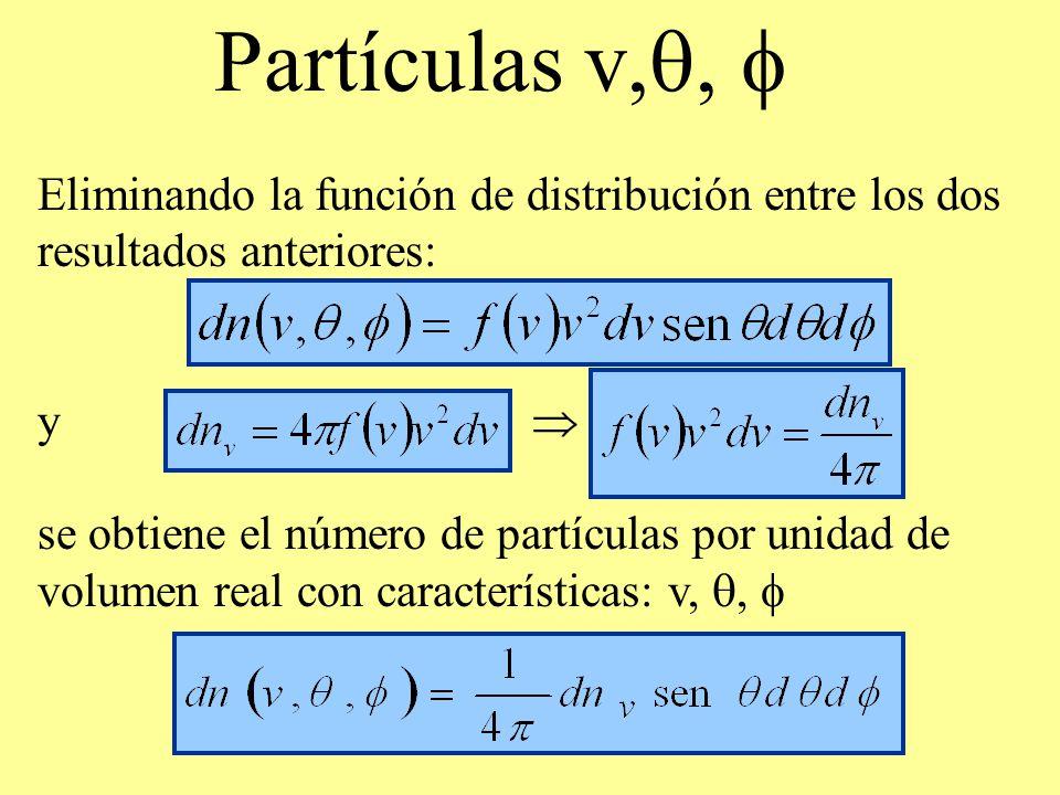 Partículas v,, Eliminando la función de distribución entre los dos resultados anteriores: y se obtiene el número de partículas por unidad de volumen r