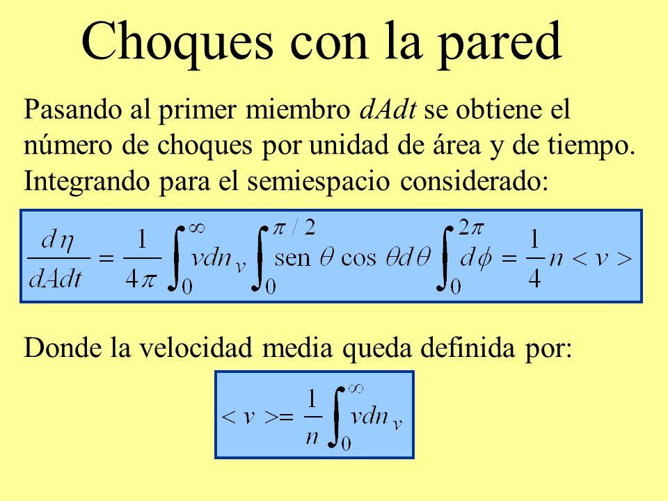 Choques con la pared Donde la velocidad media queda definida por: Pasando al primer miembro dAdt se obtiene el número de choques por unidad de área y