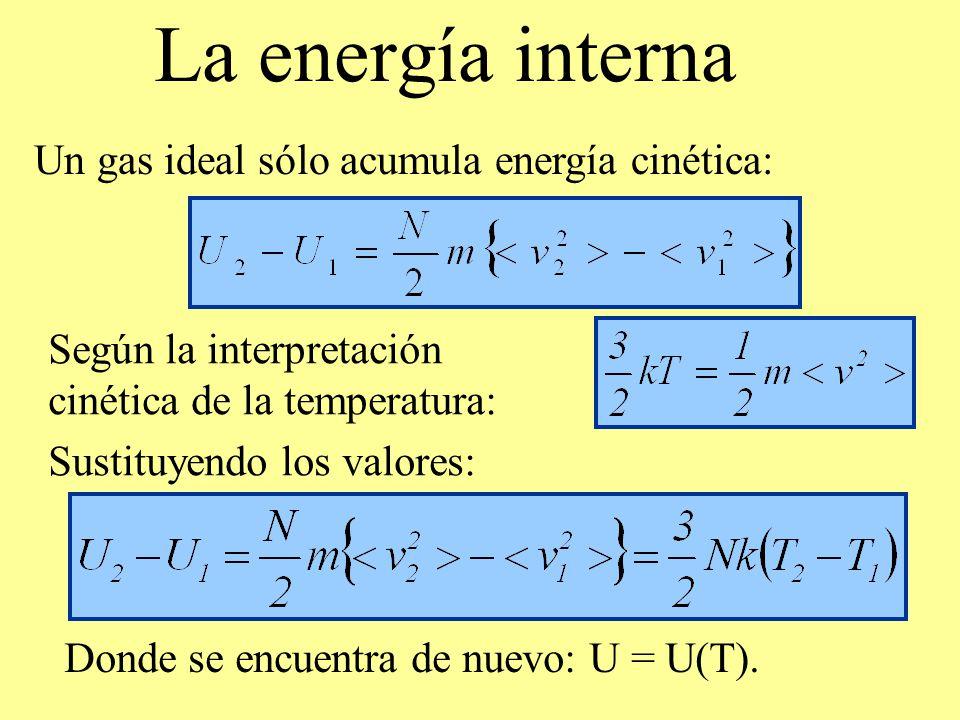 La energía interna Un gas ideal sólo acumula energía cinética: Según la interpretación cinética de la temperatura: Sustituyendo los valores: Donde se