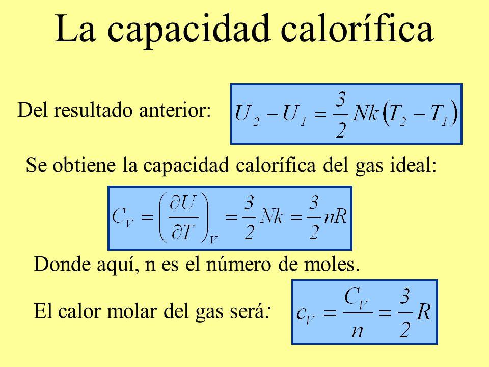 Se obtiene la capacidad calorífica del gas ideal: La capacidad calorífica Del resultado anterior: Donde aquí, n es el número de moles. El calor molar