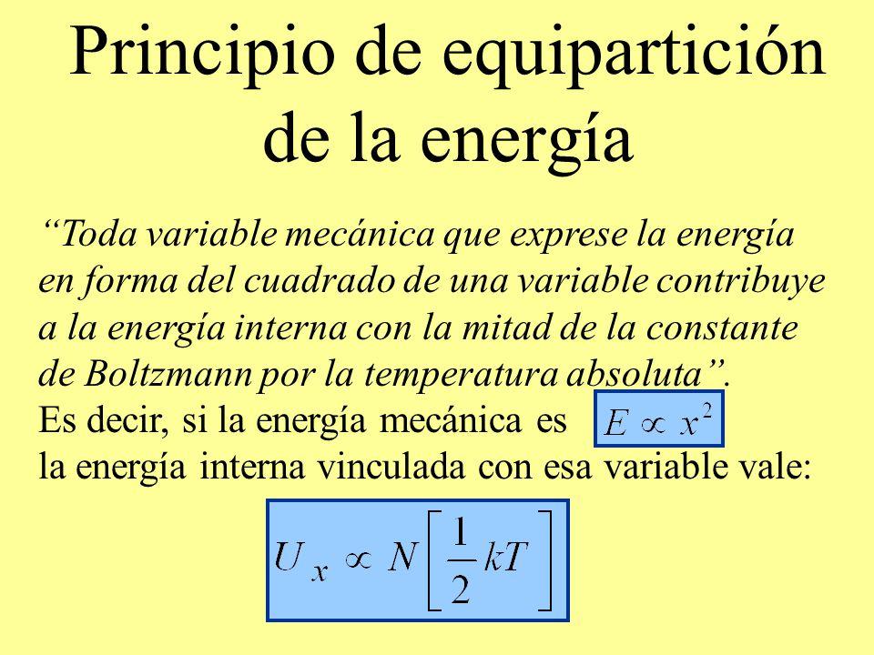 Principio de equipartición de la energía Toda variable mecánica que exprese la energía en forma del cuadrado de una variable contribuye a la energía i