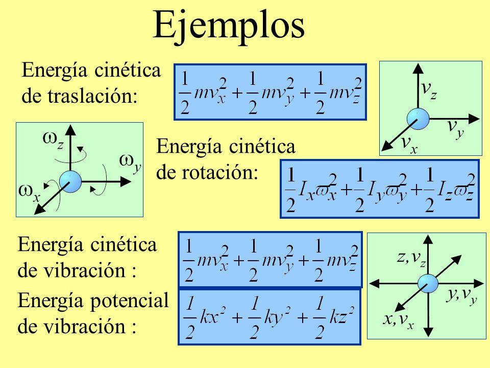 Ejemplos Energía cinética de traslación: Energía cinética de rotación: Energía cinética de vibración : Energía potencial de vibración :