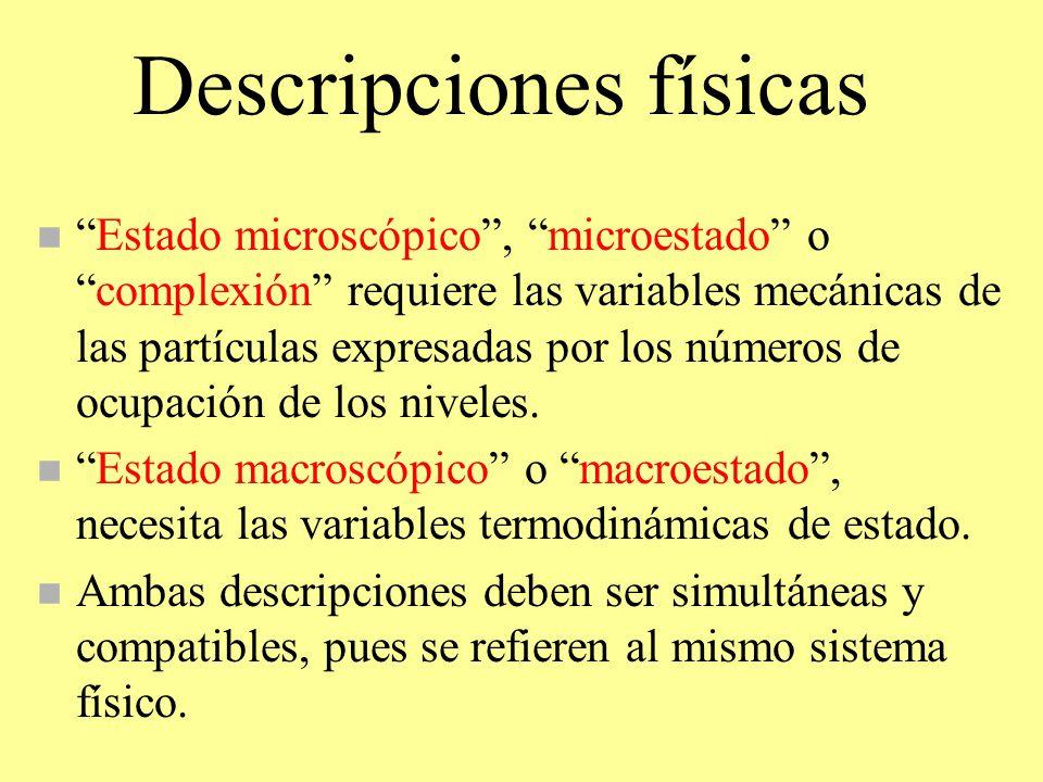 Descripciones físicas nEstado microscópico, microestado ocomplexión requiere las variables mecánicas de las partículas expresadas por los números de o