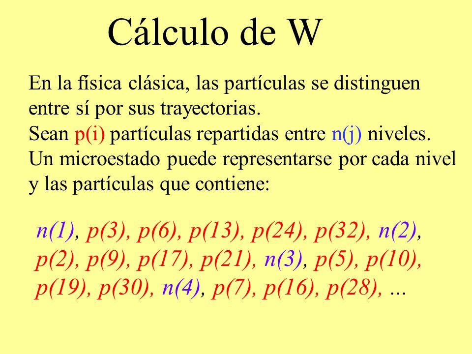 Cálculo de W En la física clásica, las partículas se distinguen entre sí por sus trayectorias. Sean p(i) partículas repartidas entre n(j) niveles. Un