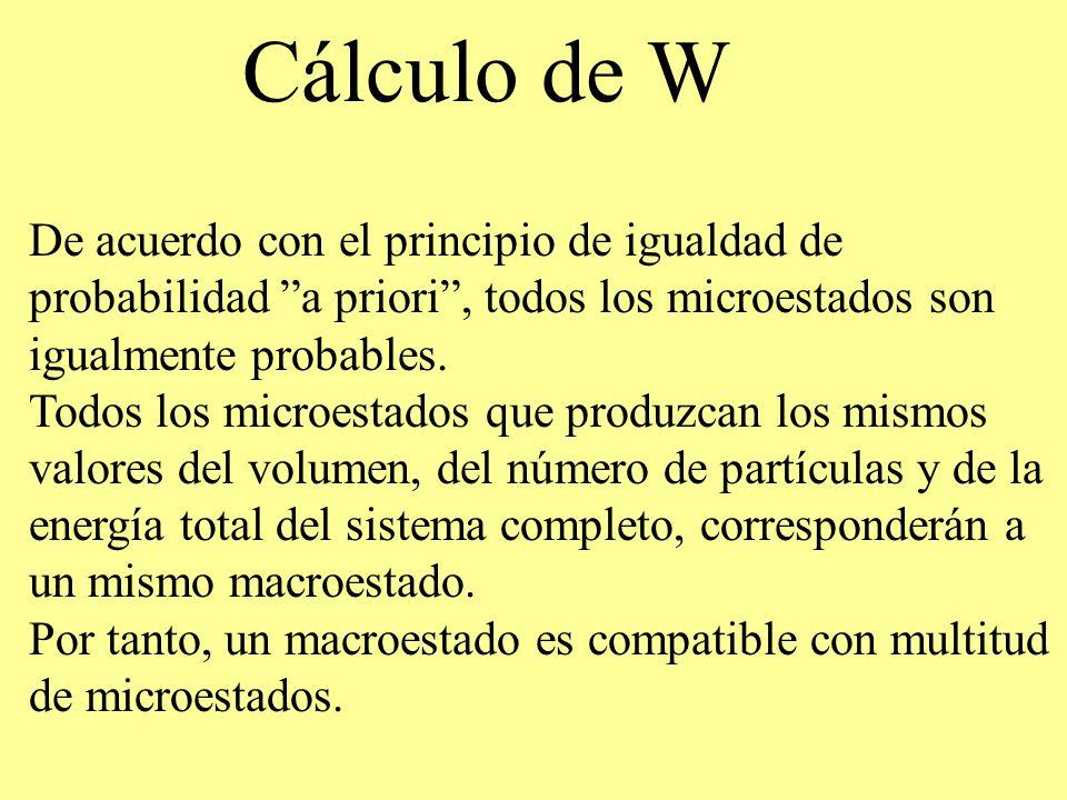 Cálculo de W De acuerdo con el principio de igualdad de probabilidad a priori, todos los microestados son igualmente probables. Todos los microestados