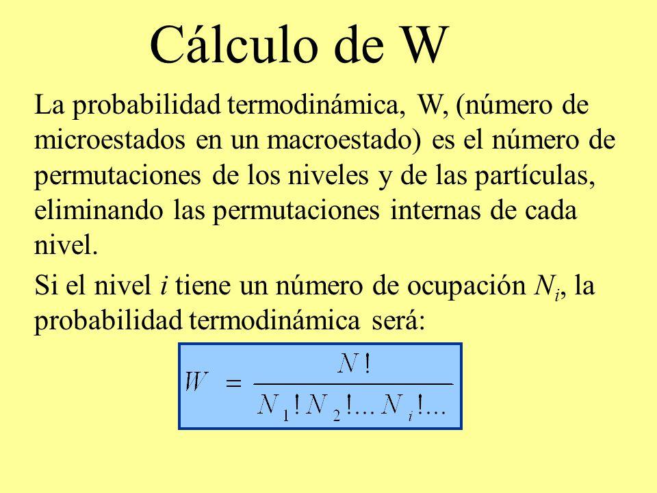 Cálculo de W Si el nivel i tiene un número de ocupación N i, la probabilidad termodinámica será: La probabilidad termodinámica, W, (número de microest
