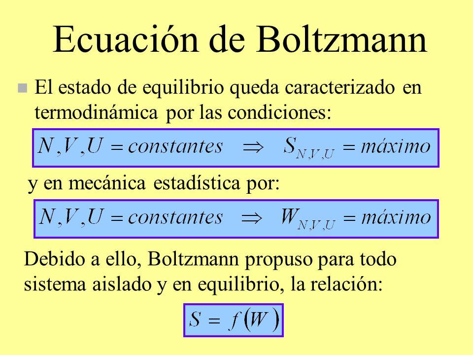 Ecuación de Boltzmann n El estado de equilibrio queda caracterizado en termodinámica por las condiciones: y en mecánica estadística por: Debido a ello