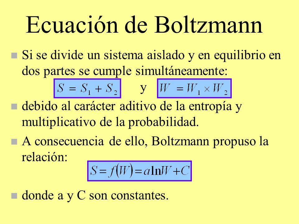 Ecuación de Boltzmann n Si se divide un sistema aislado y en equilibrio en dos partes se cumple simultáneamente: y n debido al carácter aditivo de la