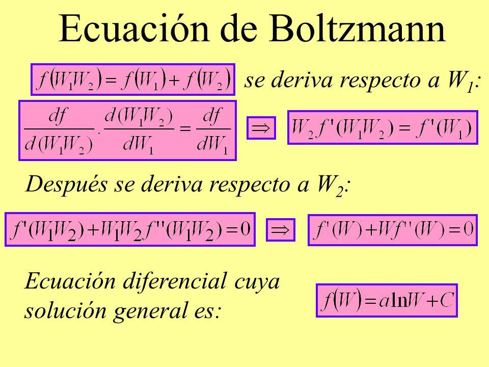 Ecuación de Boltzmann se deriva respecto a W 1 : Después se deriva respecto a W 2 : Ecuación diferencial cuya solución general es: