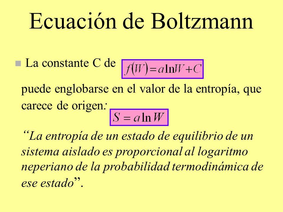 Ecuación de Boltzmann n La constante C de puede englobarse en el valor de la entropía, que carece de origen : La entropía de un estado de equilibrio d