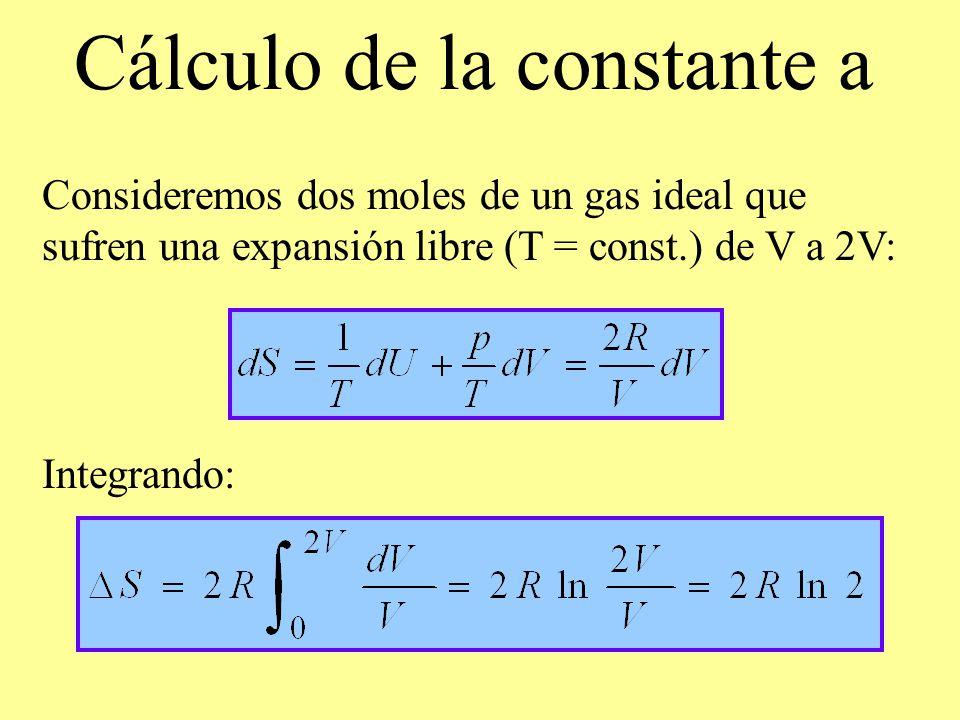 Cálculo de la constante a Consideremos dos moles de un gas ideal que sufren una expansión libre (T = const.) de V a 2V: Integrando: