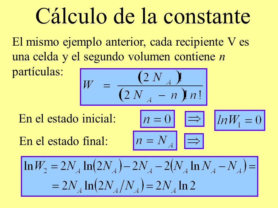 Cálculo de la constante El mismo ejemplo anterior, cada recipiente V es una celda y el segundo volumen contiene n partículas: En el estado inicial: En