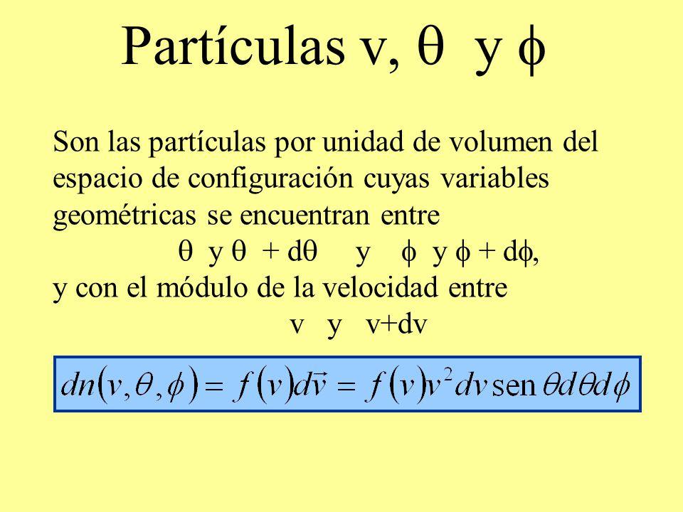 Partículas v, y Son las partículas por unidad de volumen del espacio de configuración cuyas variables geométricas se encuentran entre y + d y y + d, y
