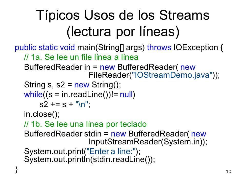 10 Típicos Usos de los Streams (lectura por líneas) public static void main(String[] args) throws IOException { // 1a. Se lee un file línea a línea Bu