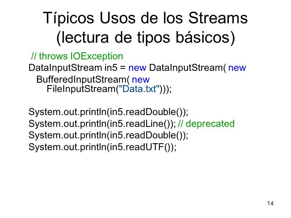 14 Típicos Usos de los Streams (lectura de tipos básicos) // throws IOException DataInputStream in5 = new DataInputStream( new BufferedInputStream( ne