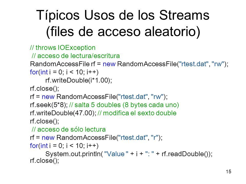 15 Típicos Usos de los Streams (files de acceso aleatorio) // throws IOException // acceso de lectura/escritura RandomAccessFile rf = new RandomAccess