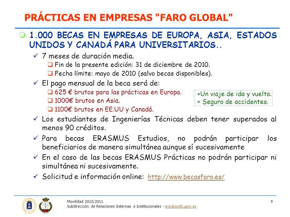 Movilidad 2010/2011 Subdirección de Relaciones Externas e Institucionales -srei@euitt.upm.essrei@euitt.upm.es 9 1.000 BECAS EN EMPRESAS DE EUROPA, ASIA, ESTADOS UNIDOS Y CANADÁ PARA UNIVERSITARIOS..