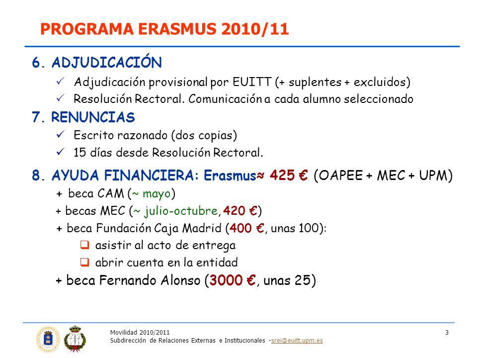 Movilidad 2010/2011 Subdirección de Relaciones Externas e Institucionales -srei@euitt.upm.essrei@euitt.upm.es 3 PROGRAMA ERASMUS 2010/11 6. ADJUDICACI