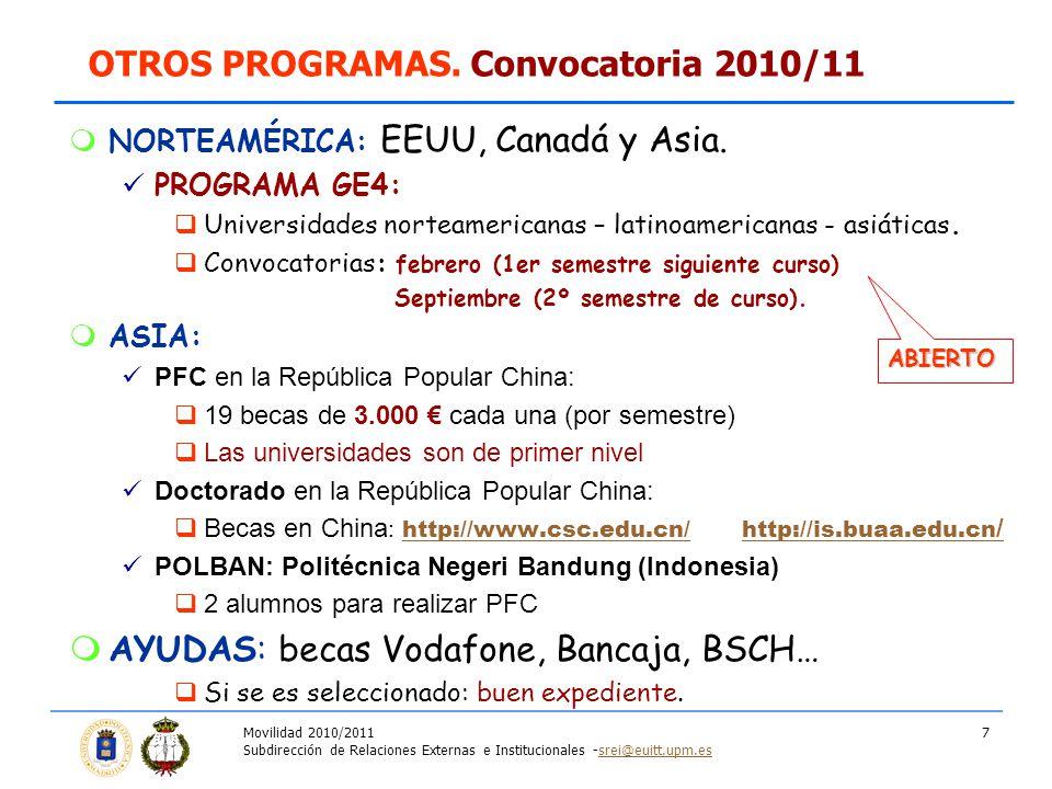 Movilidad 2010/2011 Subdirección de Relaciones Externas e Institucionales -srei@euitt.upm.essrei@euitt.upm.es 7 NORTEAMÉRICA: EEUU, Canadá y Asia. PRO