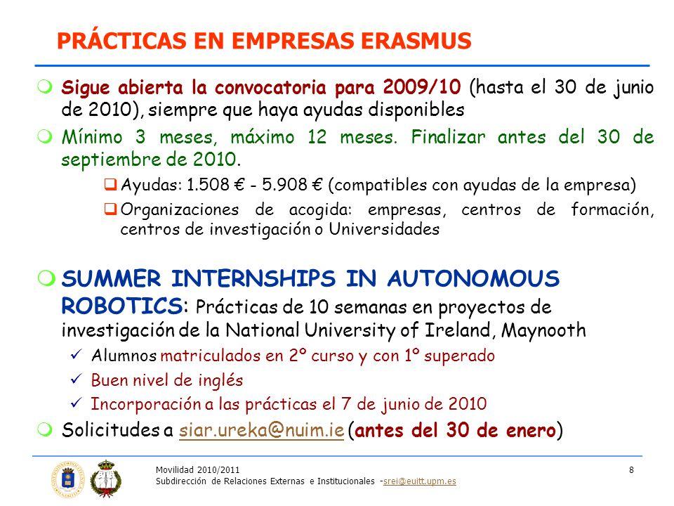 Movilidad 2010/2011 Subdirección de Relaciones Externas e Institucionales -srei@euitt.upm.essrei@euitt.upm.es 8 Sigue abierta la convocatoria para 2009/10 (hasta el 30 de junio de 2010), siempre que haya ayudas disponibles Mínimo 3 meses, máximo 12 meses.