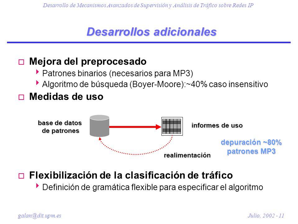 Desarrollo de Mecanismos Avanzados de Supervisión y Análisis de Tráfico sobre Redes IP galan@dit.upm.es Julio, 2002 - 11 Desarrollos adicionales o Mejora del preprocesado Patrones binarios (necesarios para MP3) Algoritmo de búsqueda (Boyer-Moore):~40% caso insensitivo o Medidas de uso o Flexibilización de la clasificación de tráfico Definición de gramática flexible para especificar el algoritmo base de datos de patrones informes de uso realimentación depuración ~80% patrones MP3