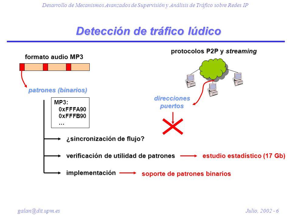 Desarrollo de Mecanismos Avanzados de Supervisión y Análisis de Tráfico sobre Redes IP galan@dit.upm.es Julio, 2002 - 7 Estudio estadístico CodificaciónRatio teóricoRatio experimental 192 Kbps0.3190.33 160 Kbps0.3820.40 128 Kbps0.4780.50 112 Kbps0.5470.57 96 Kbps0.6380.68 Ficheros MP3 Ficheros MP3 Ficheros no MP3 Ficheros no MP3 ratio experimental: despreciable