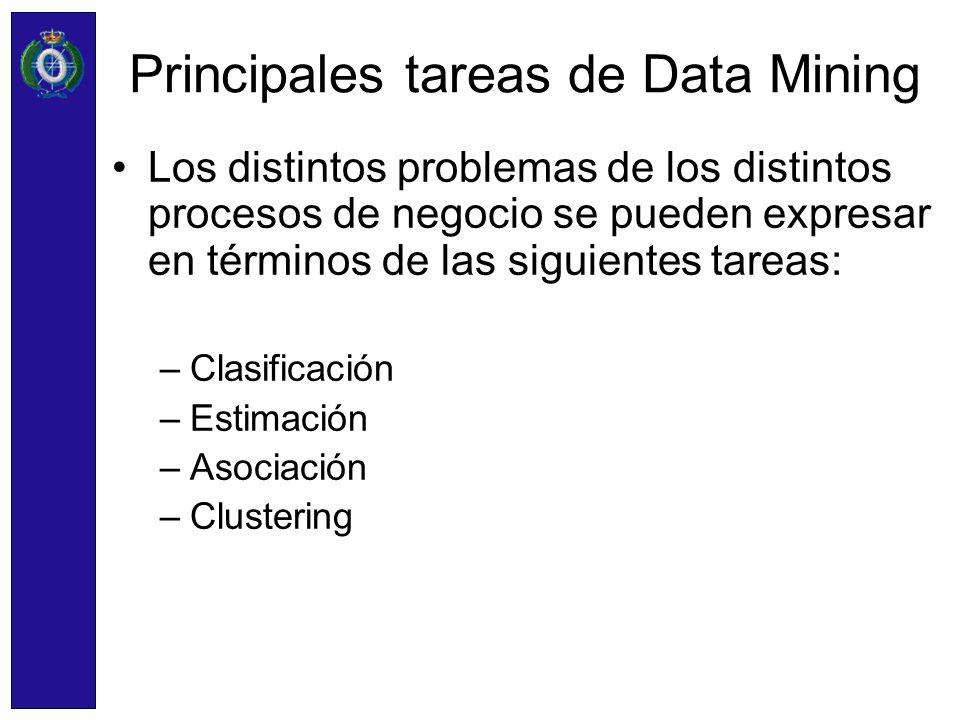 Principales tareas de Data Mining Los distintos problemas de los distintos procesos de negocio se pueden expresar en términos de las siguientes tareas