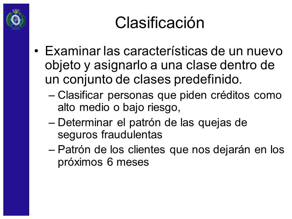 Clasificación Examinar las características de un nuevo objeto y asignarlo a una clase dentro de un conjunto de clases predefinido. –Clasificar persona
