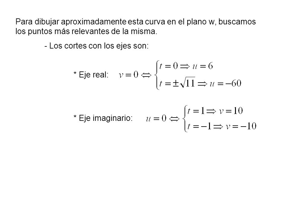 Para dibujar aproximadamente esta curva en el plano w, buscamos los puntos más relevantes de la misma. - Los cortes con los ejes son: * Eje real: * Ej