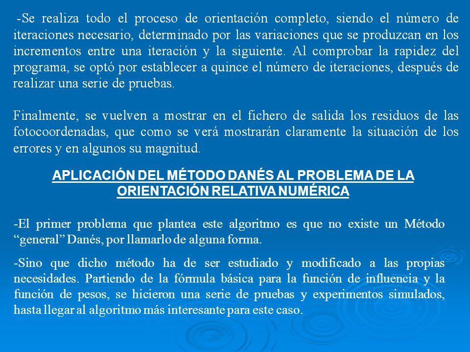 APLICACIÓN DEL MÉTODO DANÉS AL PROBLEMA DE LA ORIENTACIÓN RELATIVA NUMÉRICA -El primer problema que plantea este algoritmo es que no existe un Método
