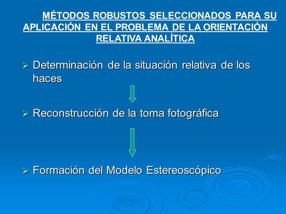 Determinación de la situación relativa de los haces Determinación de la situación relativa de los haces Reconstrucción de la toma fotográfica Reconstr