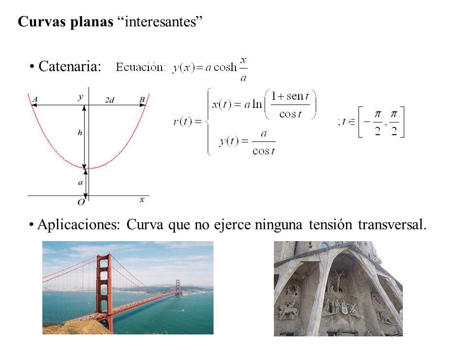 Curvas planas interesantes Catenaria: Aplicaciones: Curva que no ejerce ninguna tensión transversal. Arcos