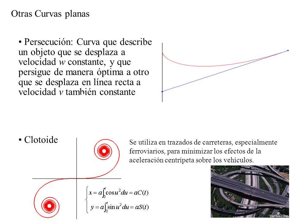 Otras Curvas planas Persecución: Curva que describe un objeto que se desplaza a velocidad w constante, y que persigue de manera óptima a otro que se d