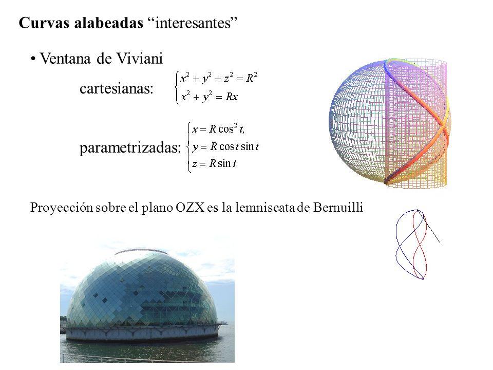 Curvas alabeadas interesantes Ventana de Viviani cartesianas: parametrizadas: Proyección sobre el plano OZX es la lemniscata de Bernuilli