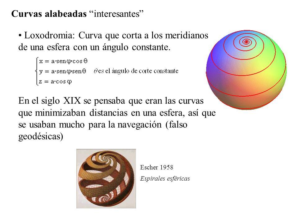Curvas alabeadas interesantes Loxodromia: Curva que corta a los meridianos de una esfera con un ángulo constante. En el siglo XIX se pensaba que eran