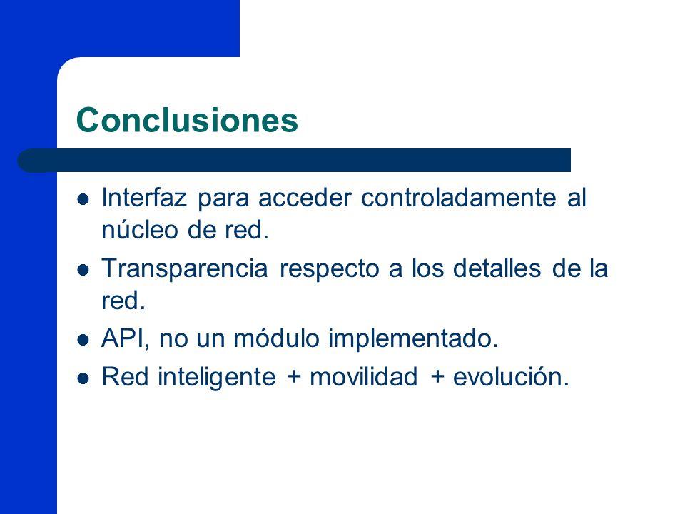 Conclusiones Interfaz para acceder controladamente al núcleo de red. Transparencia respecto a los detalles de la red. API, no un módulo implementado.