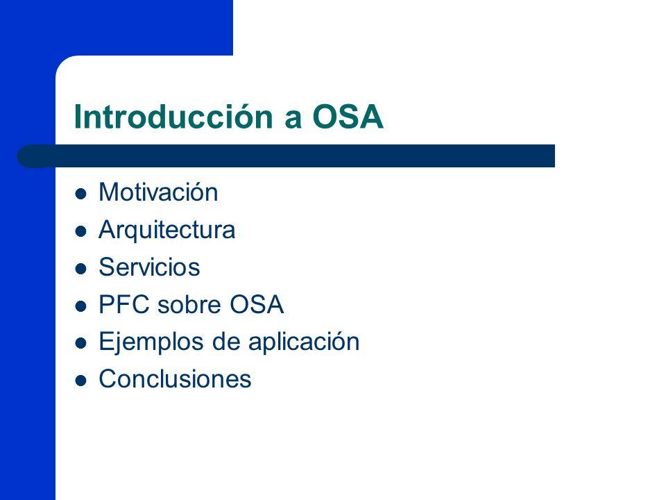 Introducción a OSA Motivación Arquitectura Servicios PFC sobre OSA Ejemplos de aplicación Conclusiones