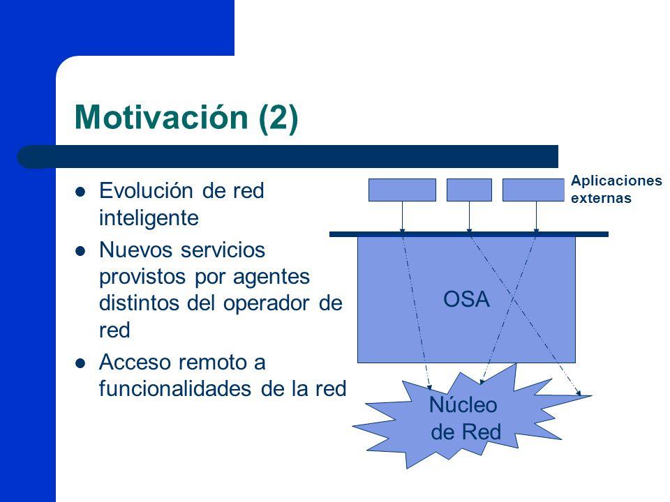 Motivación (2) Evolución de red inteligente Nuevos servicios provistos por agentes distintos del operador de red Acceso remoto a funcionalidades de la