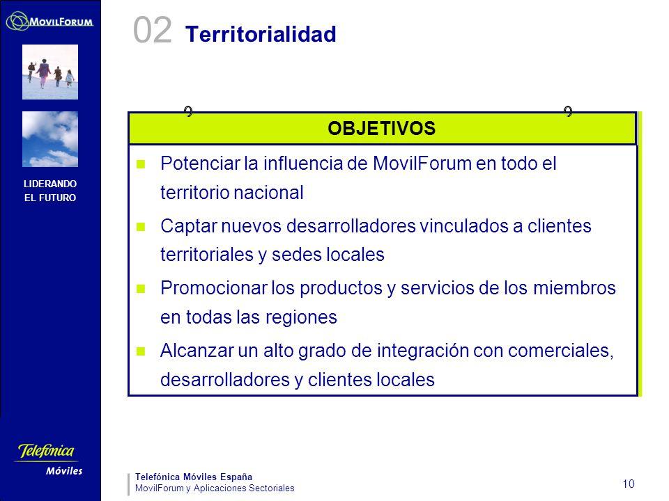 LIDERANDO EL FUTURO Telefónica Móviles España MovilForum y Aplicaciones Sectoriales 10 Territorialidad Potenciar la influencia de MovilForum en todo e