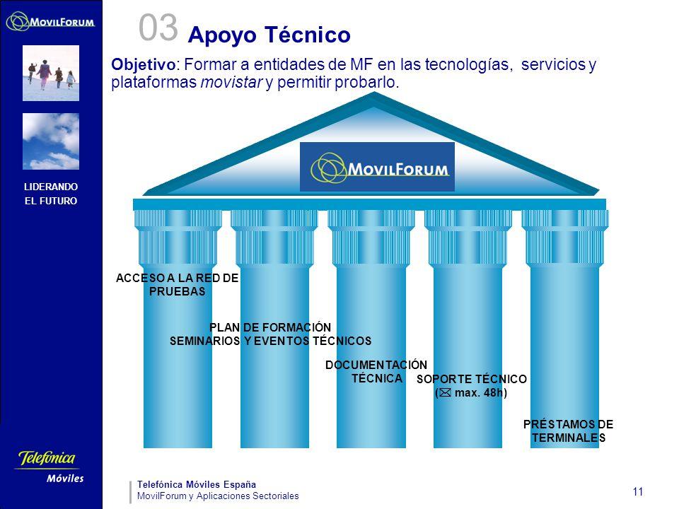 LIDERANDO EL FUTURO Telefónica Móviles España MovilForum y Aplicaciones Sectoriales 11 Apoyo Técnico ACCESO A LA RED DE PRUEBAS PLAN DE FORMACIÓN SEMI