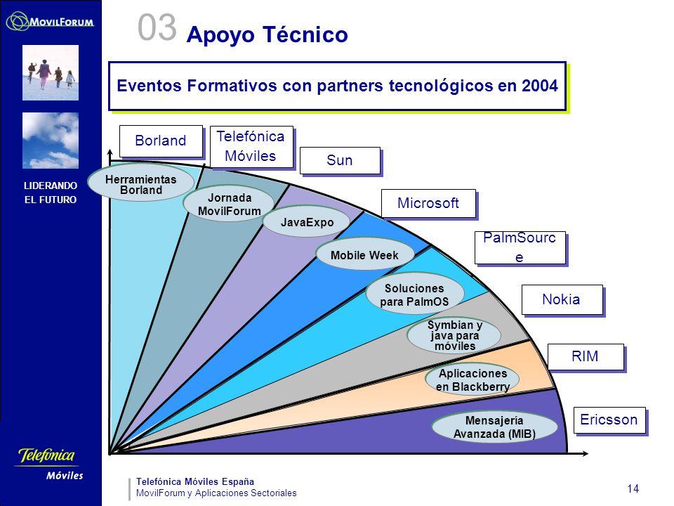 LIDERANDO EL FUTURO Telefónica Móviles España MovilForum y Aplicaciones Sectoriales 14 Apoyo Técnico Herramientas Borland Symbian y java para móviles
