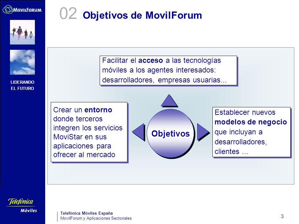 LIDERANDO EL FUTURO Telefónica Móviles España MovilForum y Aplicaciones Sectoriales 3 Objetivos de MovilForum Objetivos Facilitar el acceso a las tecn