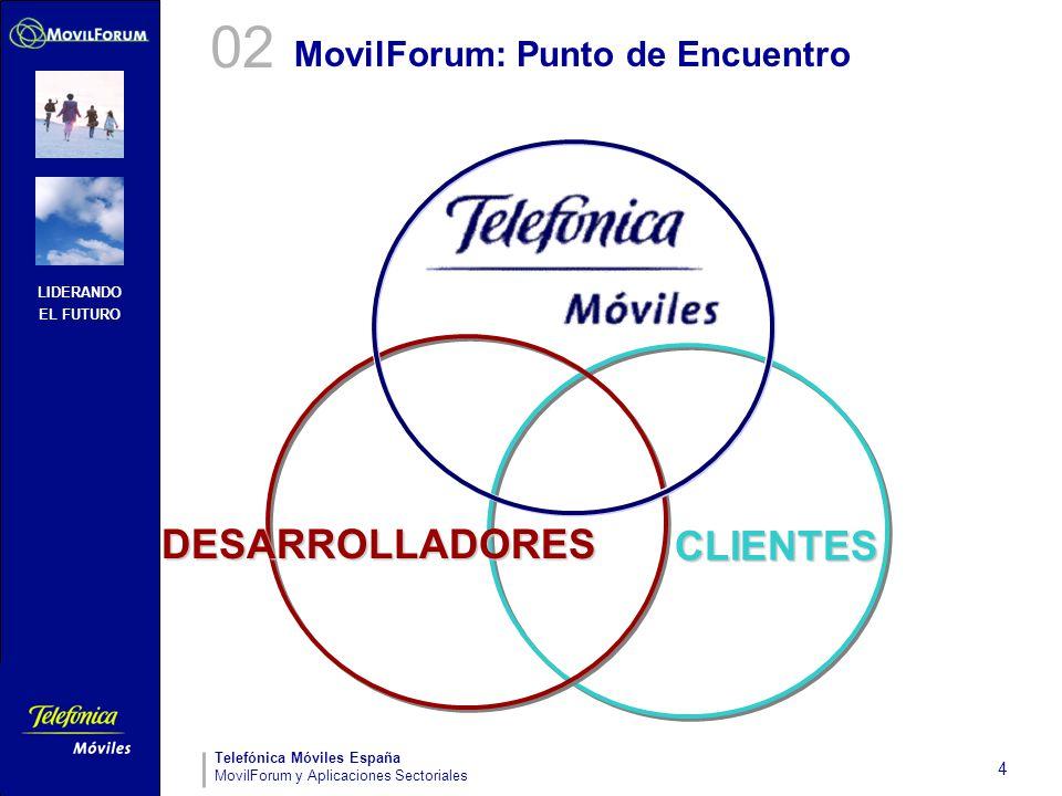 LIDERANDO EL FUTURO Telefónica Móviles España MovilForum y Aplicaciones Sectoriales 4 MovilForum: Punto de Encuentro DESARROLLADORES CLIENTES 02