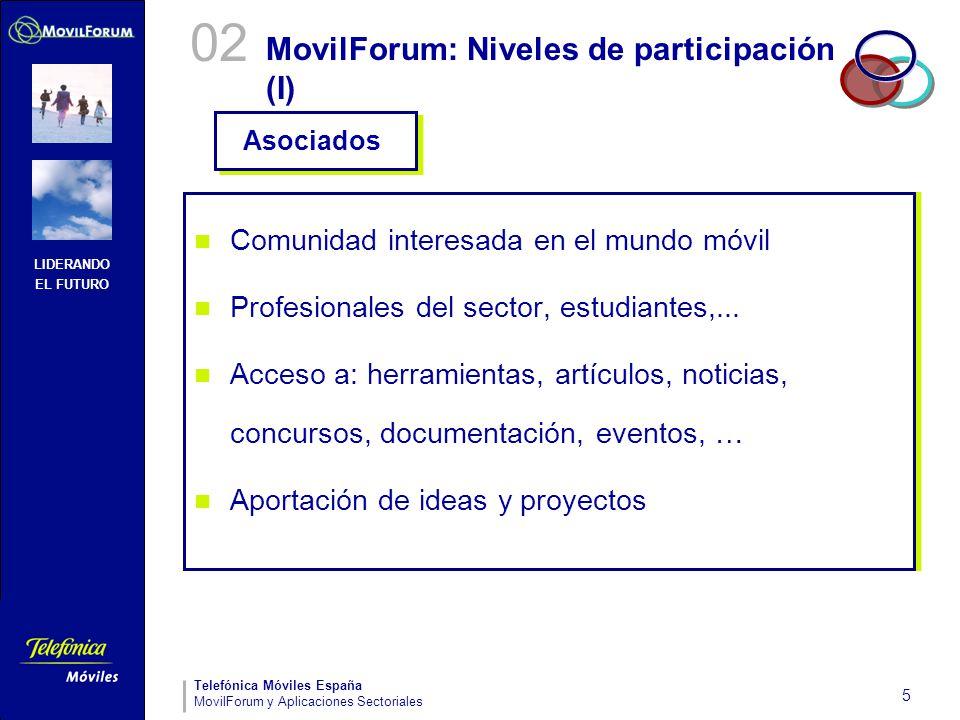 LIDERANDO EL FUTURO Telefónica Móviles España MovilForum y Aplicaciones Sectoriales 5 MovilForum: Niveles de participación (I) Comunidad interesada en