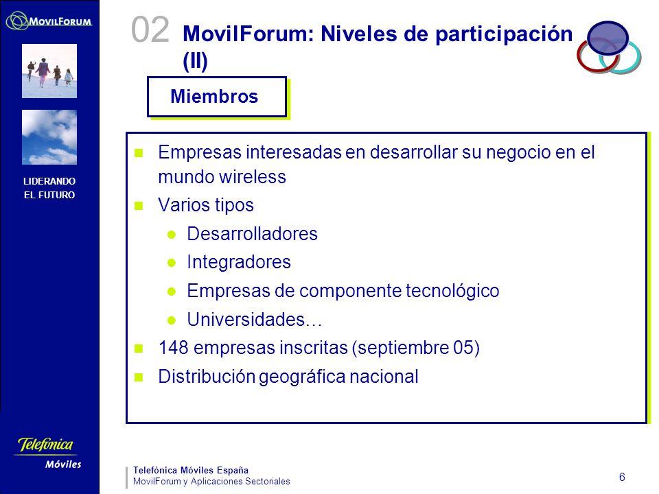 LIDERANDO EL FUTURO Telefónica Móviles España MovilForum y Aplicaciones Sectoriales 6 MovilForum: Niveles de participación (II) Empresas interesadas e