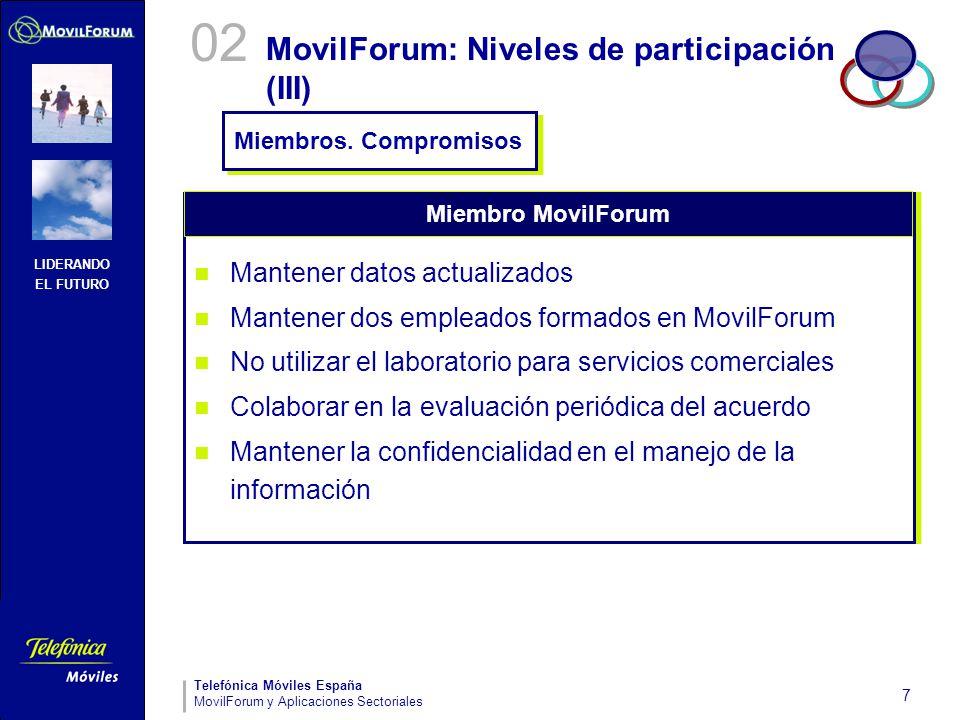 LIDERANDO EL FUTURO Telefónica Móviles España MovilForum y Aplicaciones Sectoriales 7 MovilForum: Niveles de participación (III) Mantener datos actual