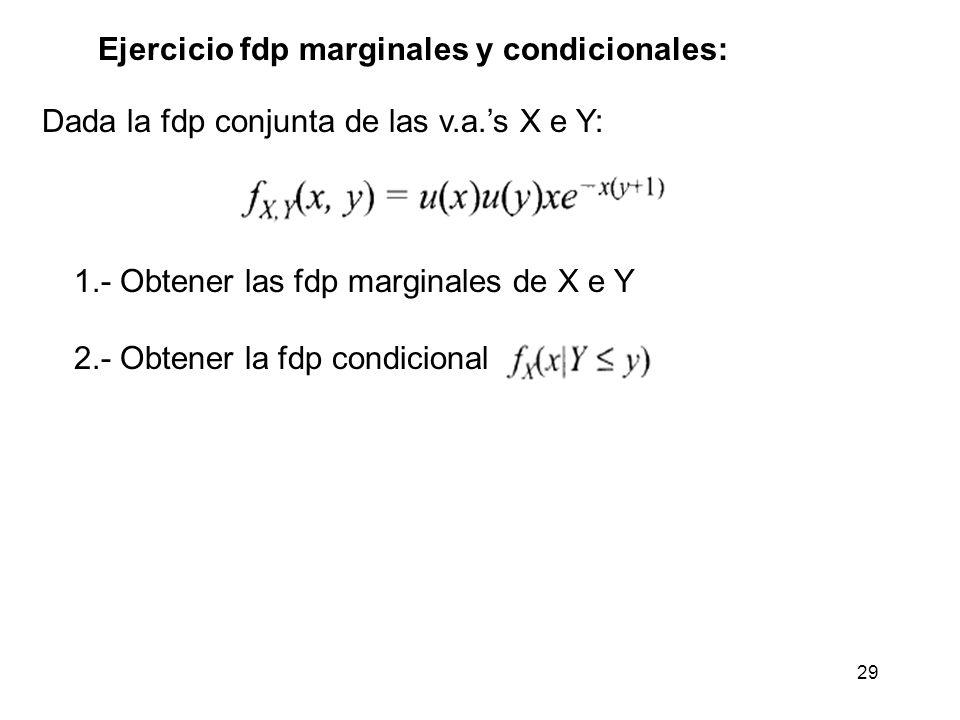 29 Ejercicio fdp marginales y condicionales: Dada la fdp conjunta de las v.a.s X e Y: 1.- Obtener las fdp marginales de X e Y 2.- Obtener la fdp condi