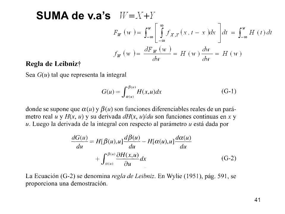41 SUMA de v.as