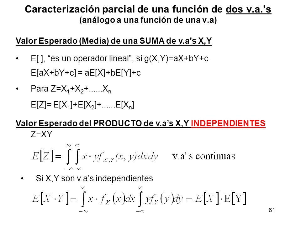 61 Caracterización parcial de una función de dos v.a.s (análogo a una función de una v.a) Valor Esperado (Media) de una SUMA de v.as X,Y E[ ], es un o